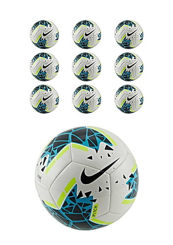 10x Nike Pitch Fußball Ball Training Trainingsball weiß blau Ballpaket Gr. 5